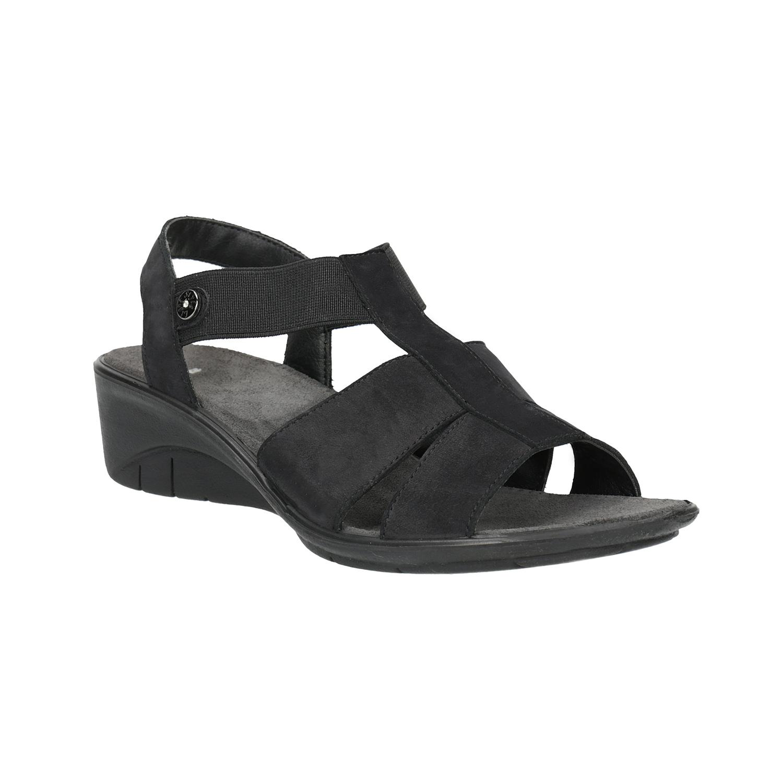 Kožené sandály na klínovém podpatku