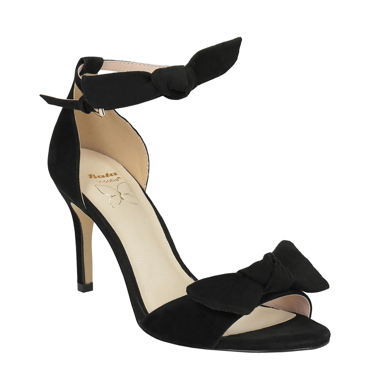 Dámské černé sandály na podpatku