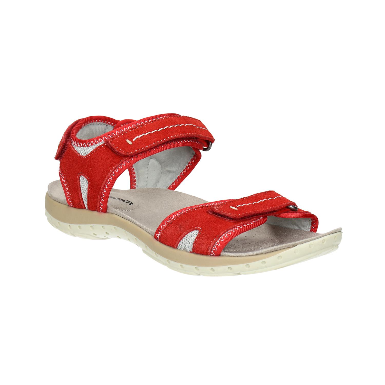 Czerwone sandały damskie ze skóry - 5665608