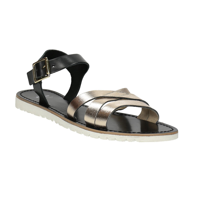 Kožené sandály se zlatými pásky