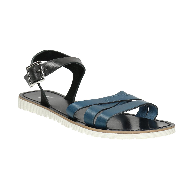 Kožené sandály s modrými pásky