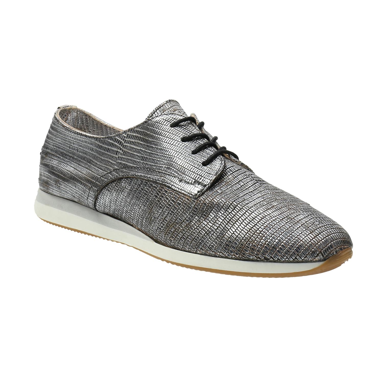 Stříbrné kožené tenisky