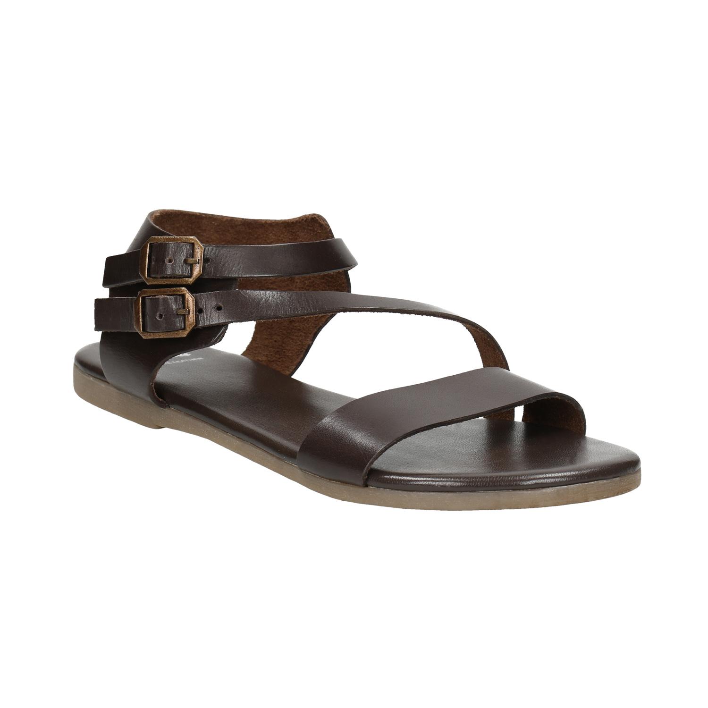 Hnědé kožené sandály