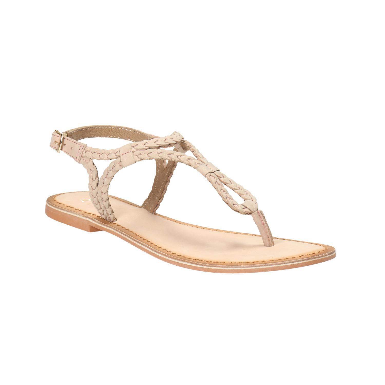 Skórzane sandały damskie zwyplatanych pasków - 5665621