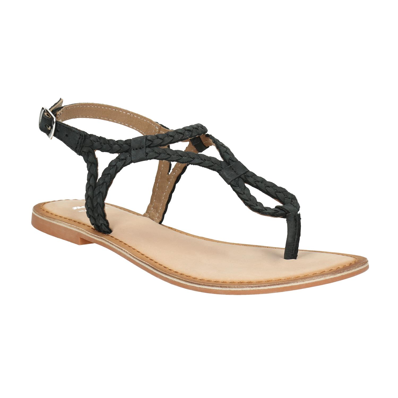 Skórzane sandały damskie zwyplatanych pasków - 5666621