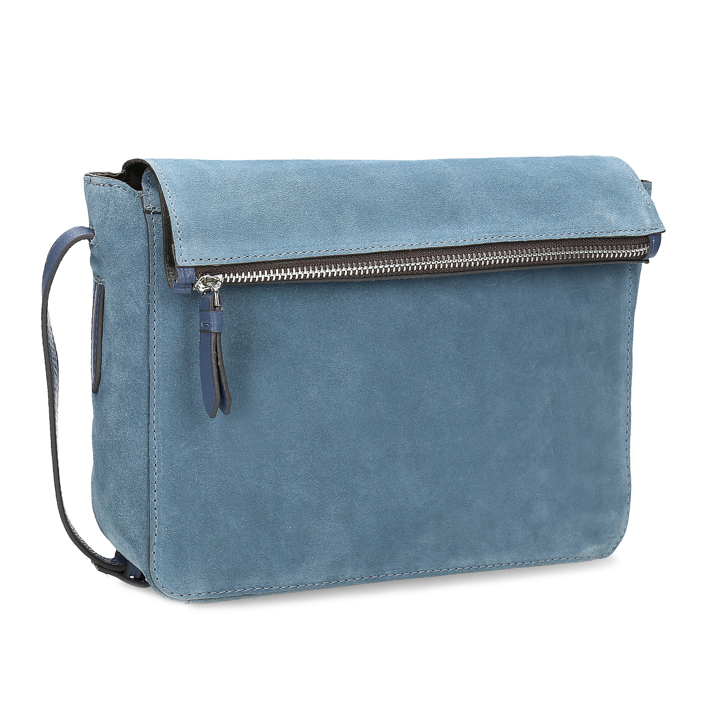 Niebieska skórzana torebka typu crossbody - 9639127