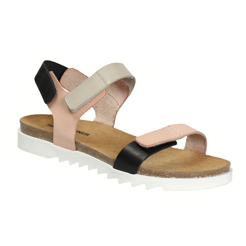 Skórzane sandały damskie na rzepy - 5663630