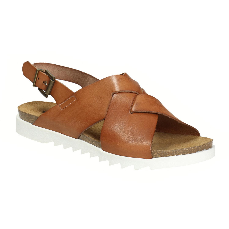 Dámské kožené sandály s propletením