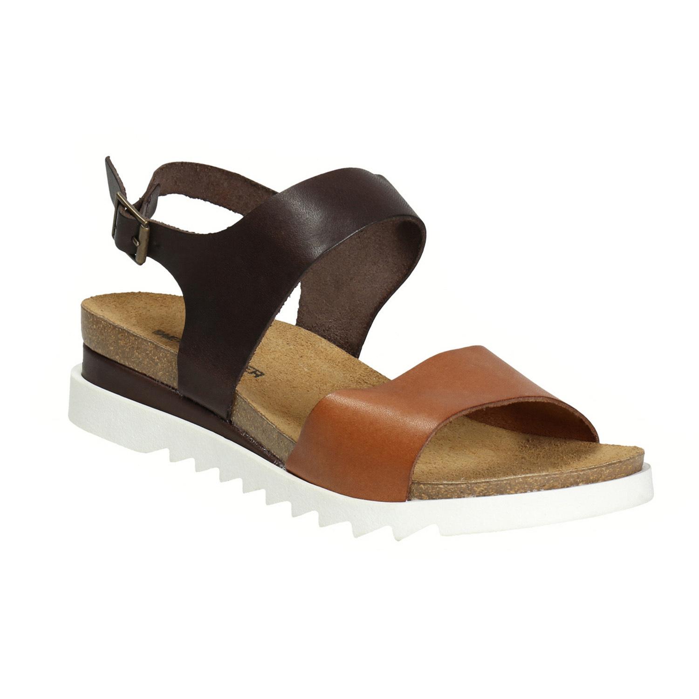 Kožené sandály na bílé podešvi