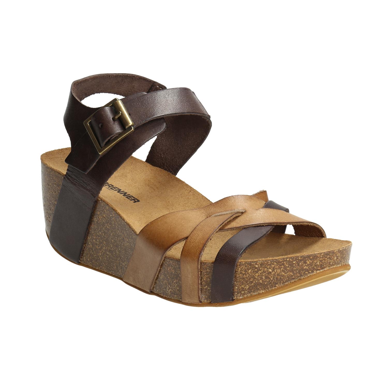 Dámské kožené sandály na přírodní platformě