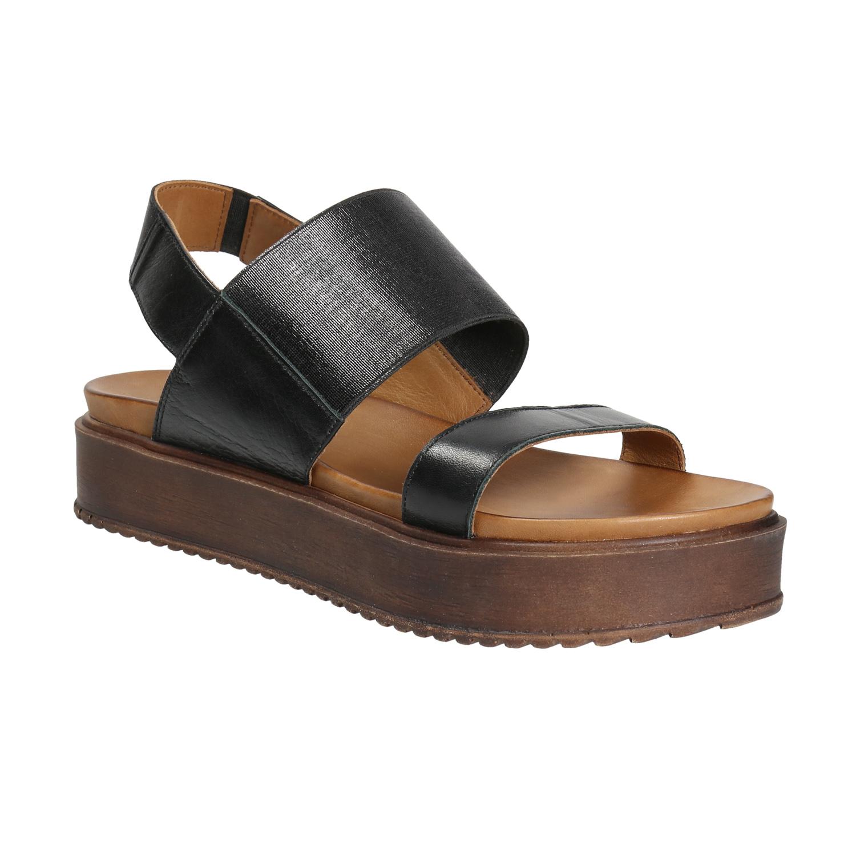 Skórzane sandały na niskiej platformie - 6666614