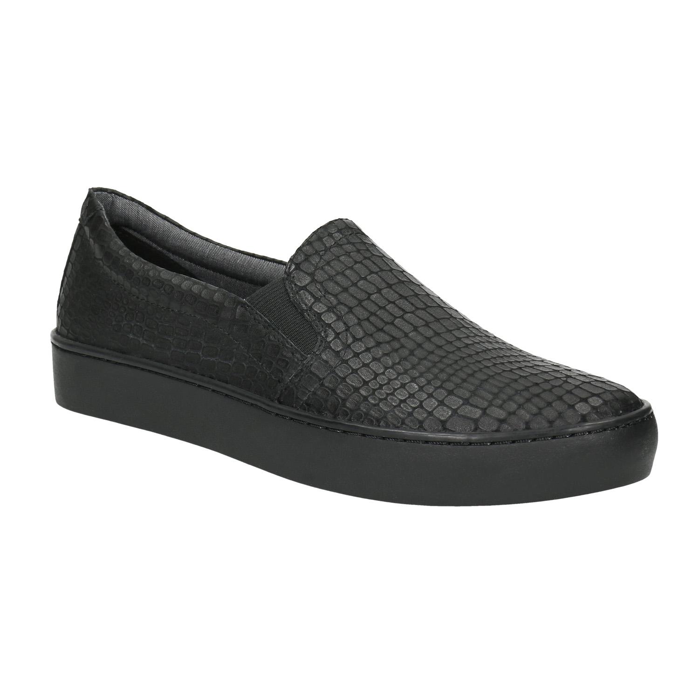 Černé kožené Slip-on boty