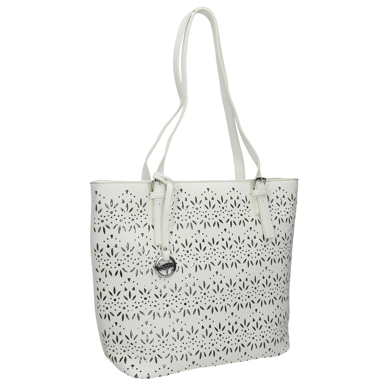 Bílá kabelka se stříbrnými detaily