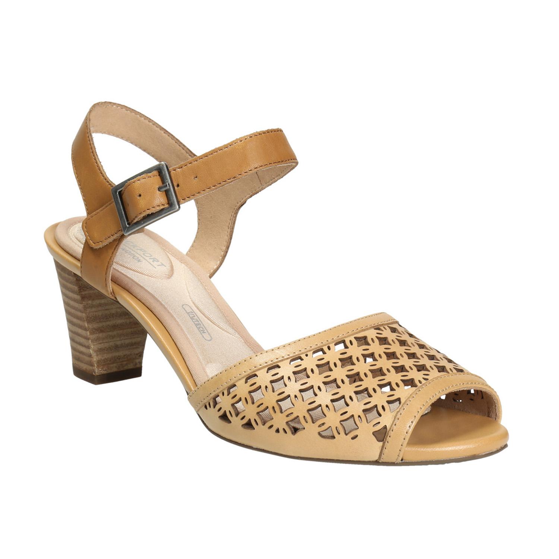 Kožené sandály na podpatku