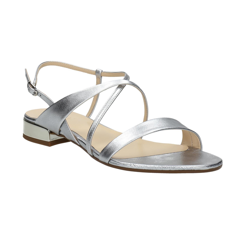 Srebrne skórzane sandały - 5681400