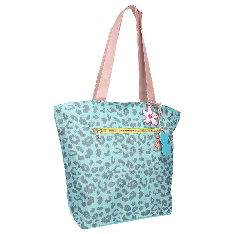 Modrá dámská taška se vzorem