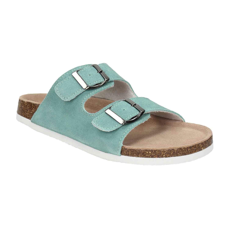 Modré kožené pantofle