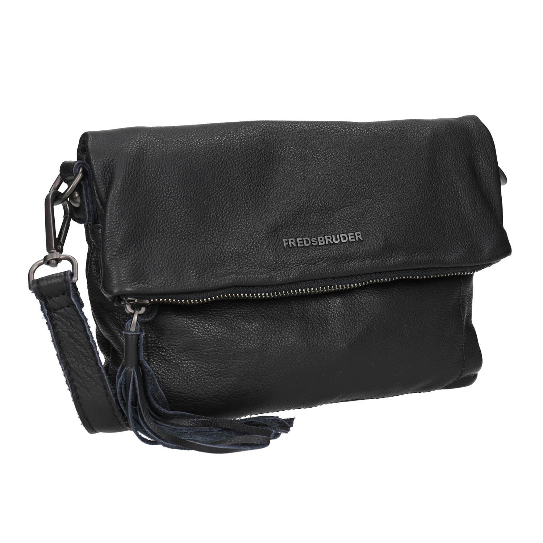 Czarna skórzana torba typu crossbody - 9646037