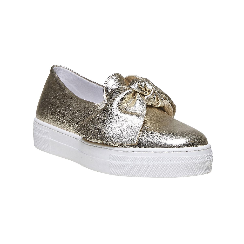 Zlatá kožená Slip-on obuv s mašlí
