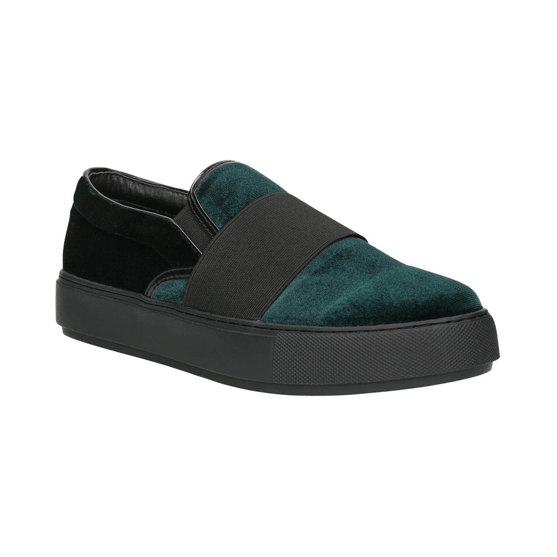 Aksamitne buty damskie typu slip-on - 5197603