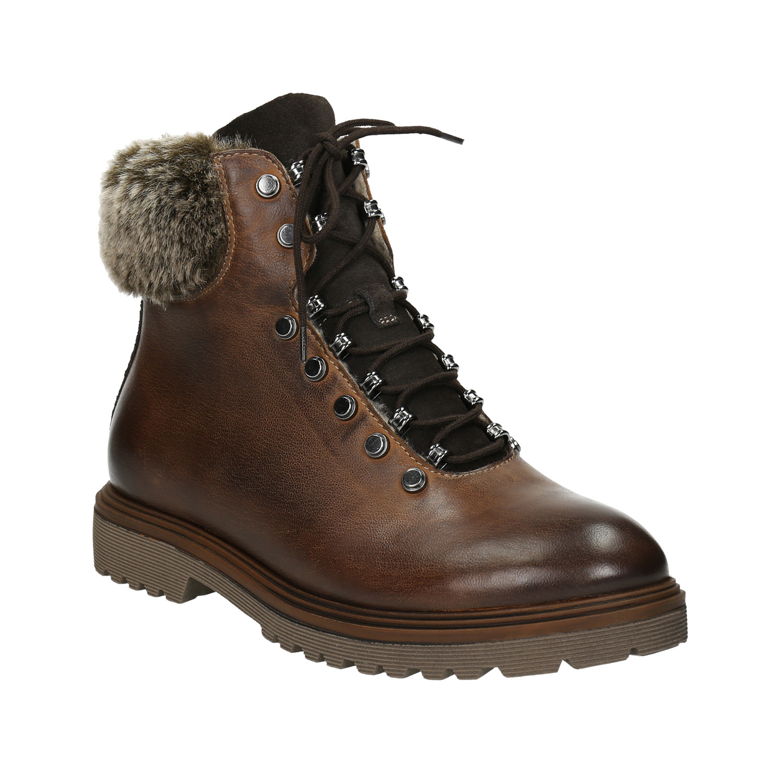 Kožená zimní obuv s kožíškem