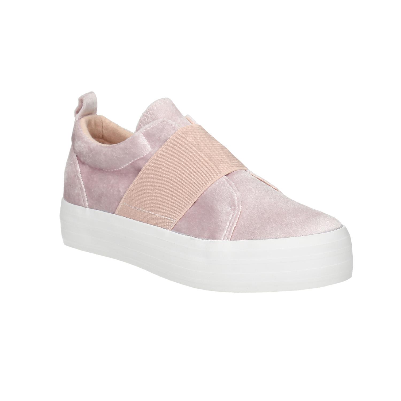 Růžové sametové Slip-on