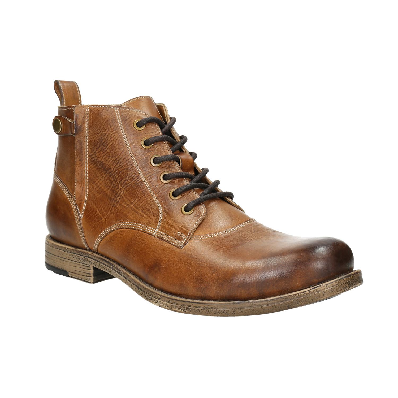 Brązowe skórzane buty za kostkę - 8963684