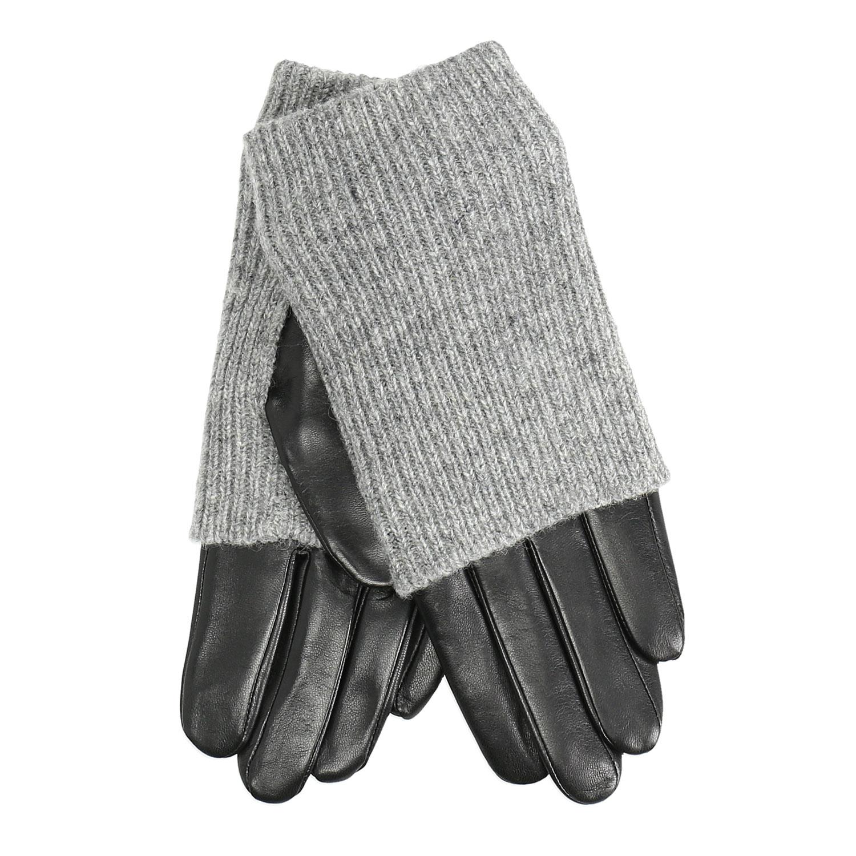 Kožené rukavice se svetrovým detailem
