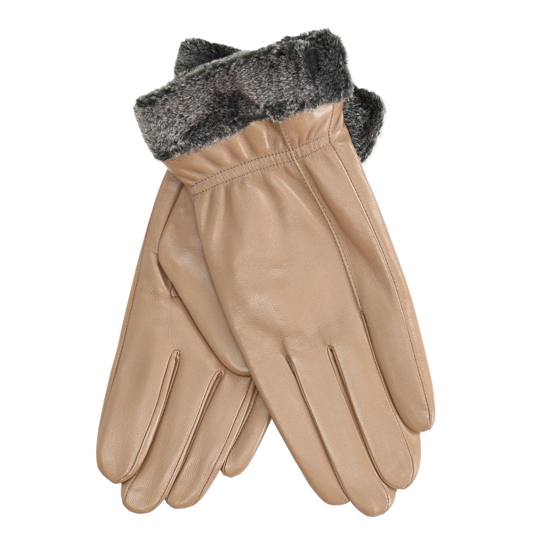 Dámske kožené rukavice béžové