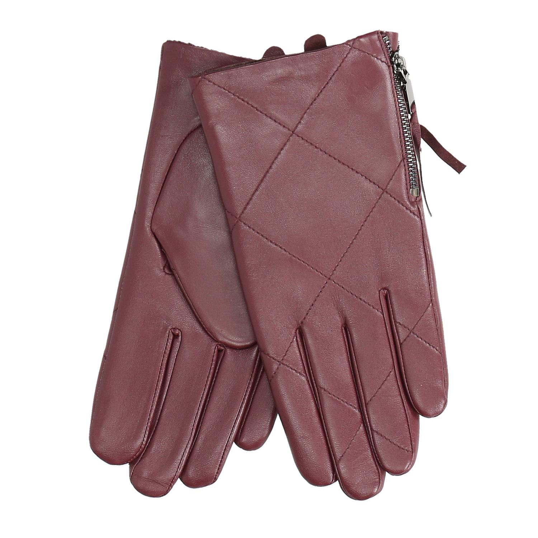 Vínové kožené rukavice se zipem