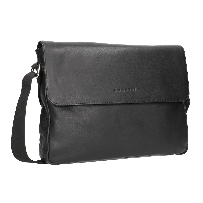 Czarna skórzana torba przewieszana przez ramię - 9646011