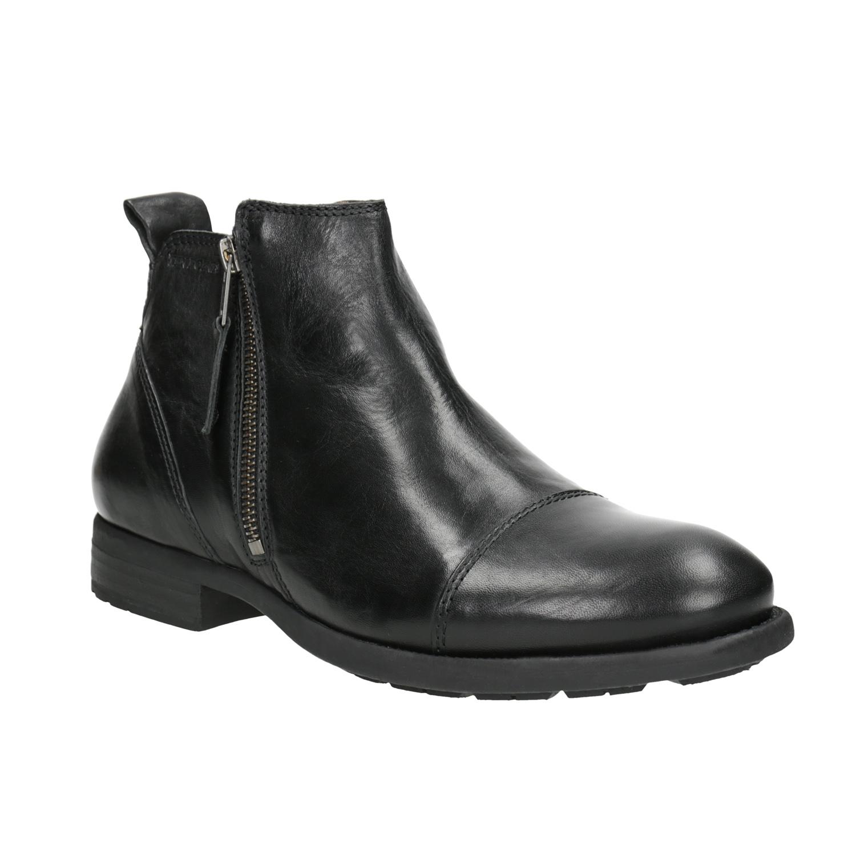 Kožená kotníčková obuv se zipem