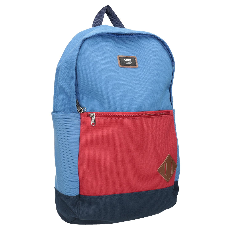 Niebieski plecak zczerwoną kieszenią - 9699095