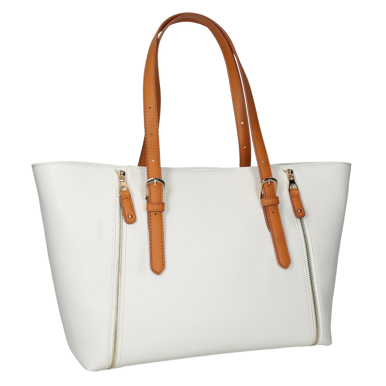 Bílá kabelka s ozdobnými zipy