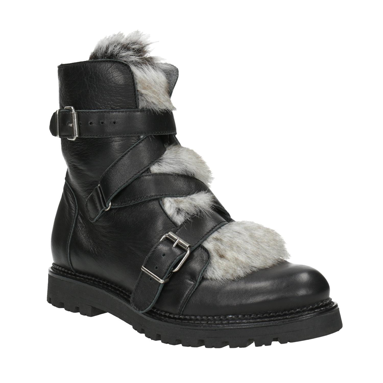 Kožená kotníčková obuv s kožíškem