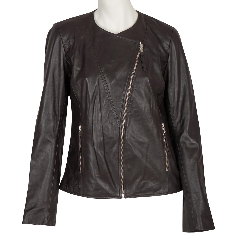 Dámská kožená bunda s asymetrickým zipem