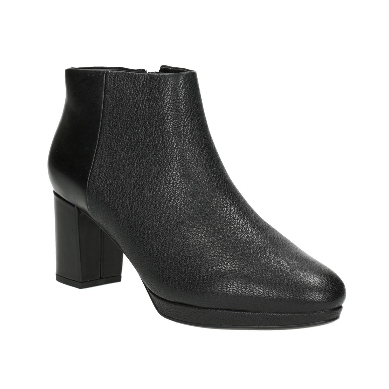 Kožené kotníčkové boty na podpatku