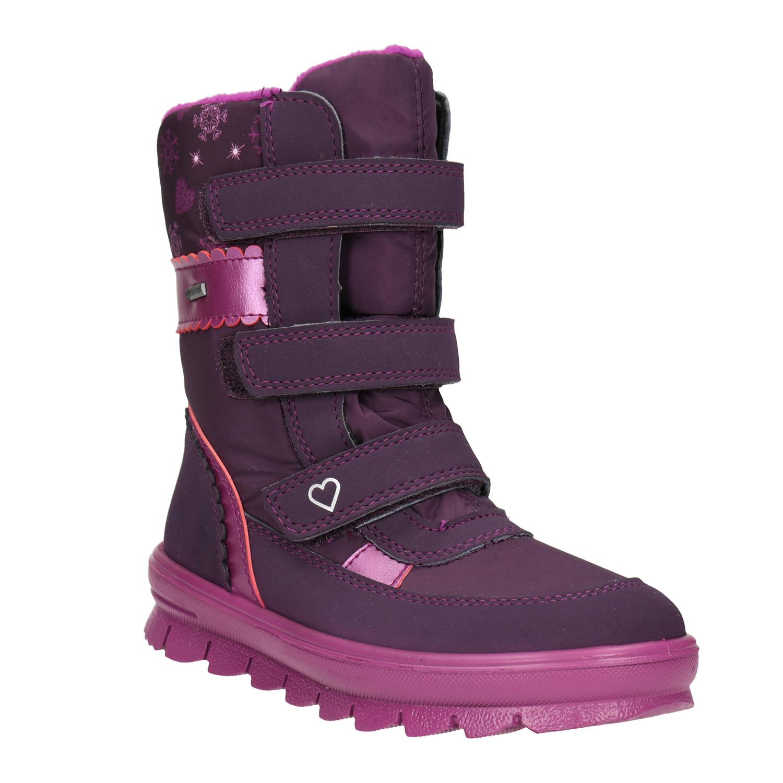 Fialová dívčí zimní obuv