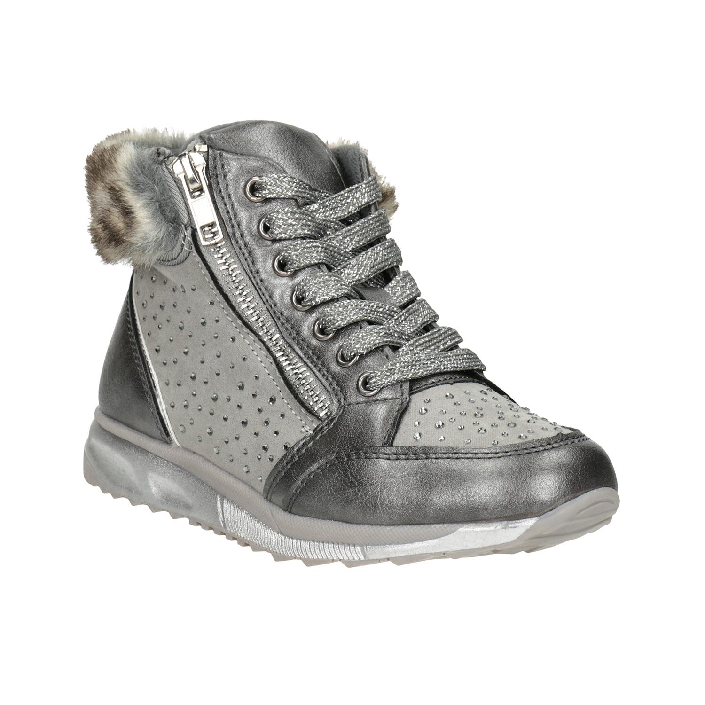 Stříbrná dívčí zimní obuv