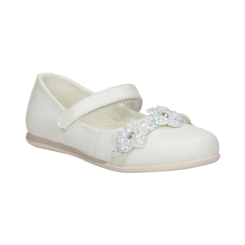 Białe baleriny zkwiatkami ibrokatem - 2291106