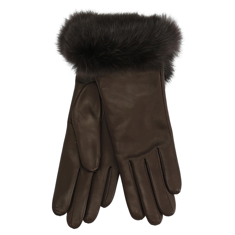 Dámské kožené rukavice s kožíškem