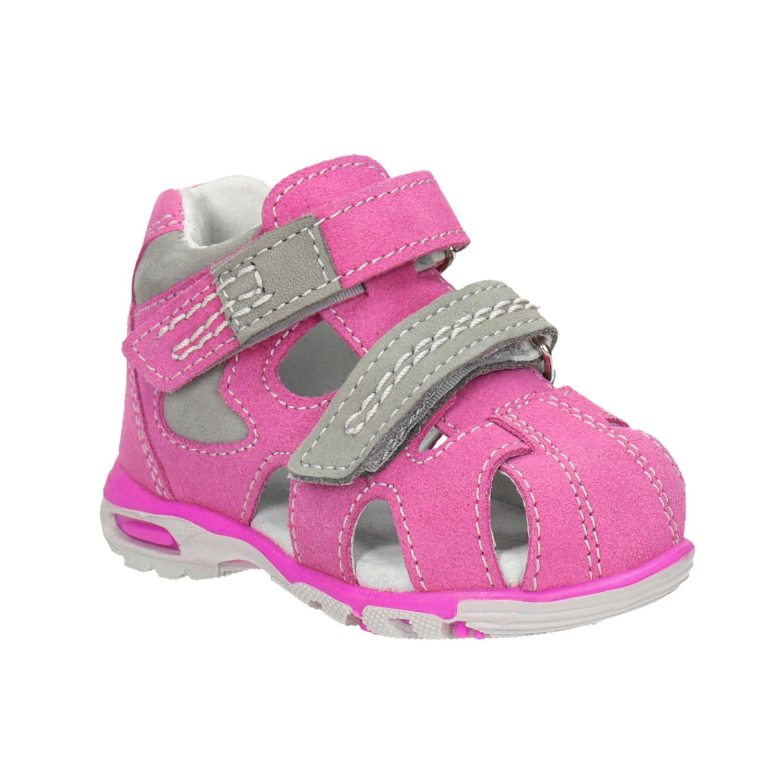 Dětské kožené sandály růžové
