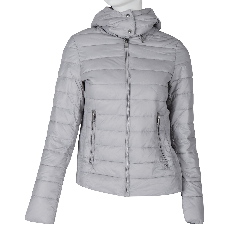 Dámská šedá bunda s kapucí