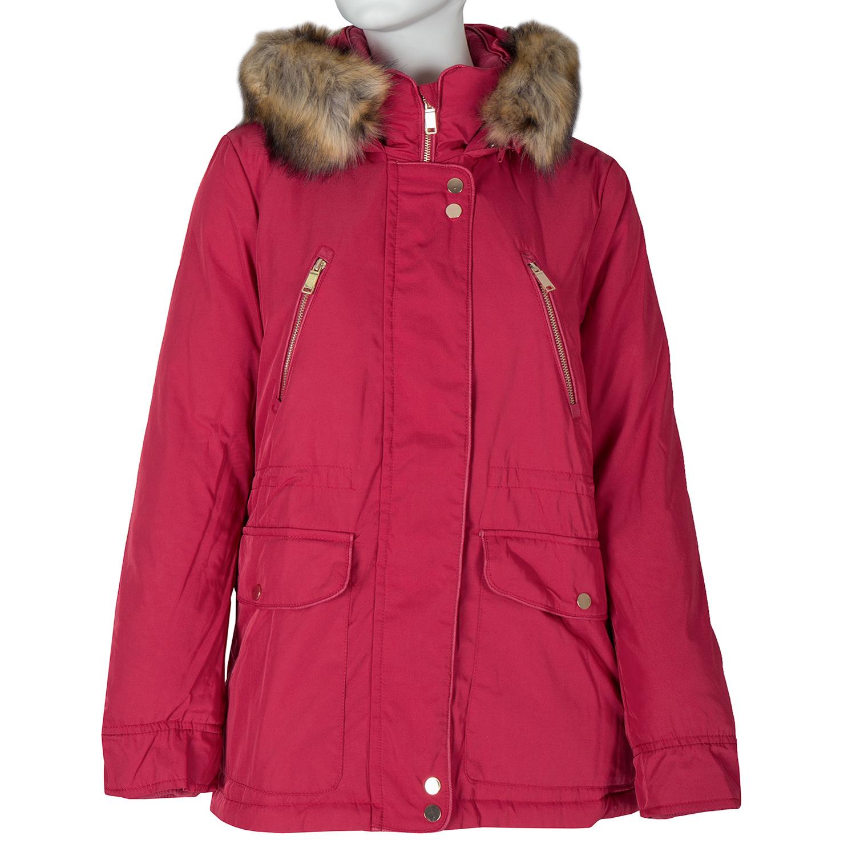 Červená dámská bunda s kapucí