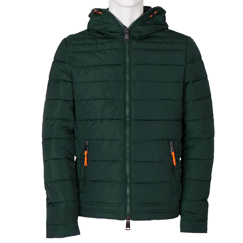 Zelená pánská bunda s kapucí