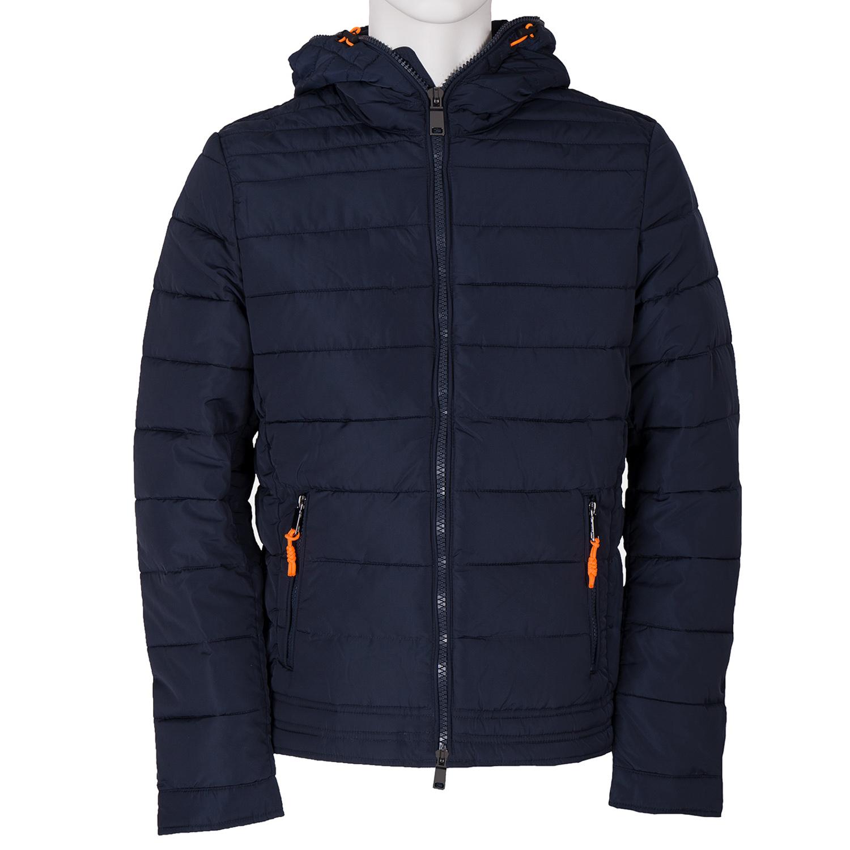 Modrá pánská bunda s kapucí