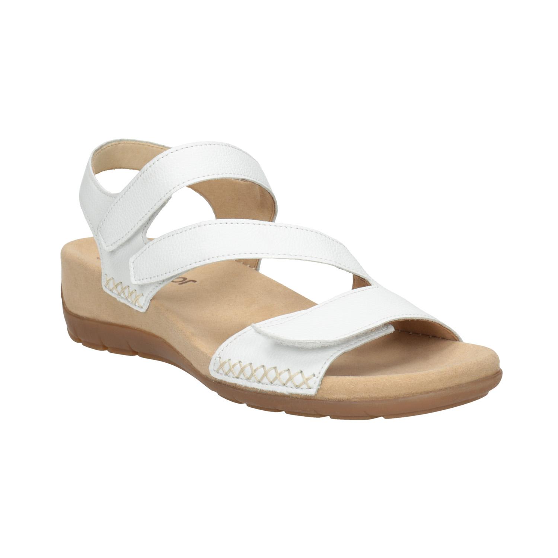 Kožené bílé sandály na suchý zip