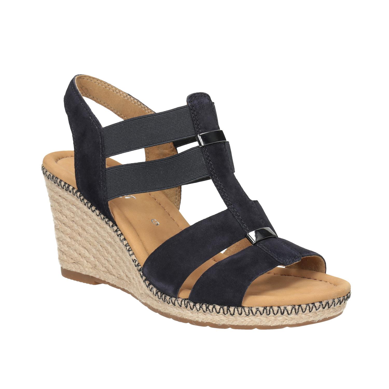 Tmavě modré kožené sandály na klínovém podpatku