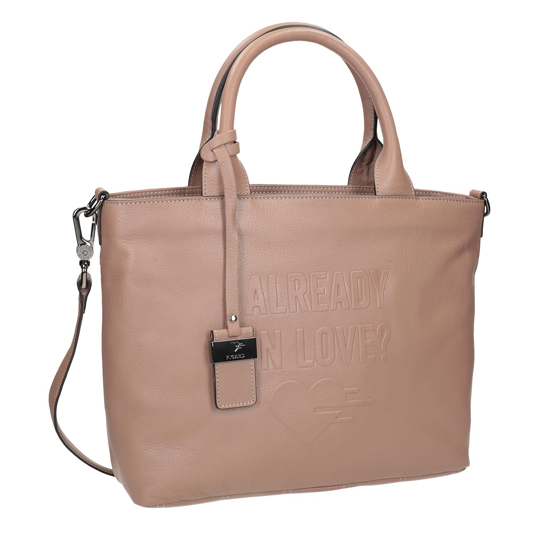 Beżowa skórzana torebka - 9646080