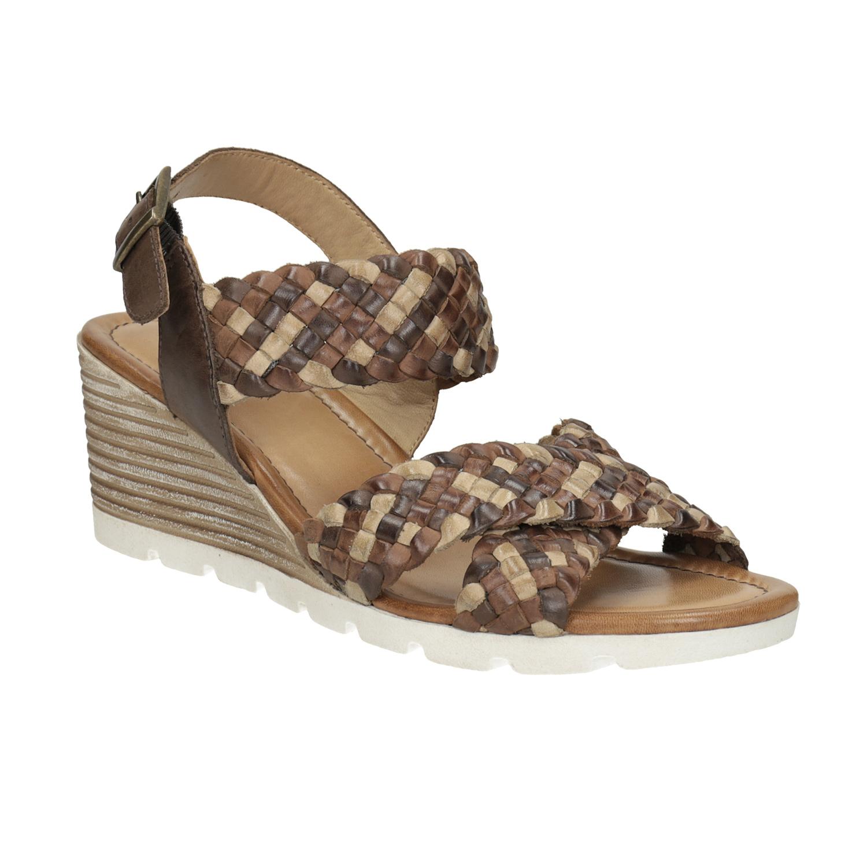 Kožené hnedé pletené sandále na kline